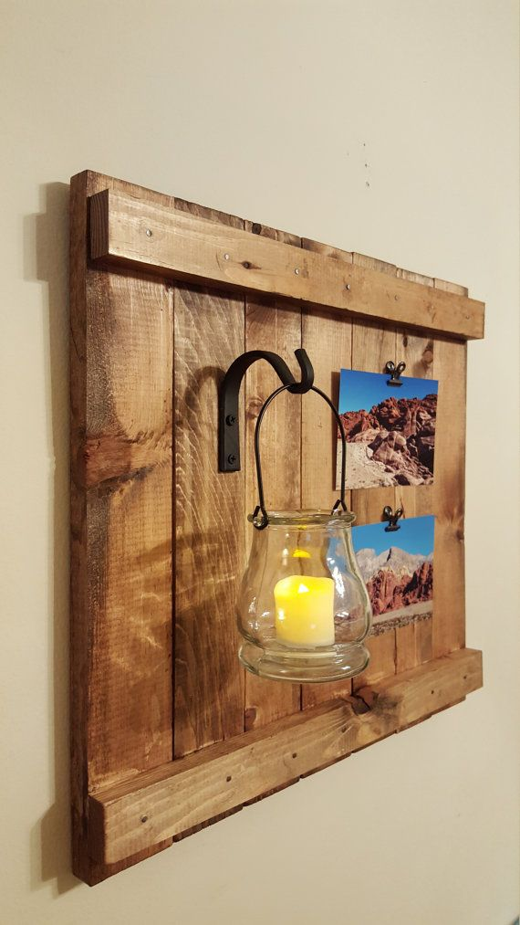 Hanging jar with wrought iron Rustic Picture Frame, Rustic Wall ...