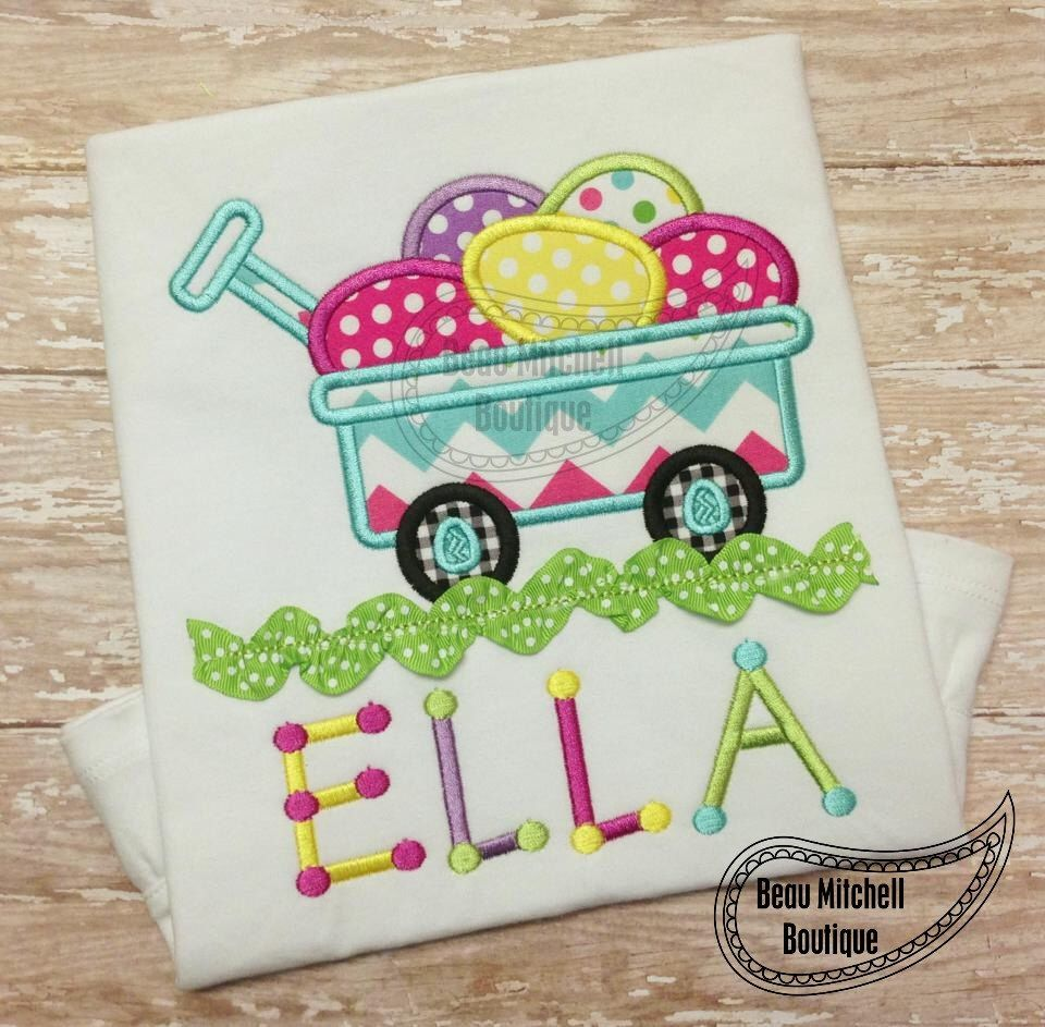 Easter Egg Wagon Ric-Rac applique embroidery design by BeauMitchellBoutique on Etsy https://www.etsy.com/listing/172792154/easter-egg-wagon-ric-rac-applique