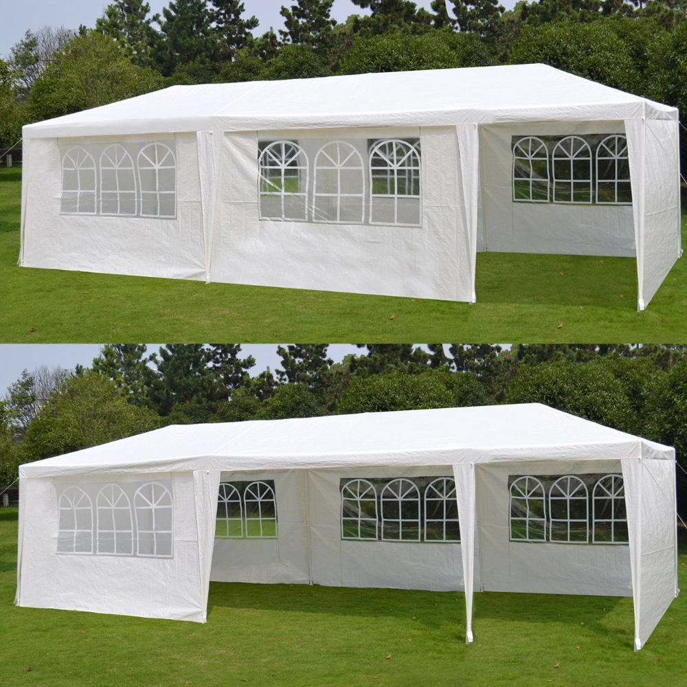 Zeny 10 X 30 White Gazebo Wedding Party Tent Canopy With 6 Windows 2 Sidewalls 8 Walmart Com White Gazebo Canopy Tent Party Tent