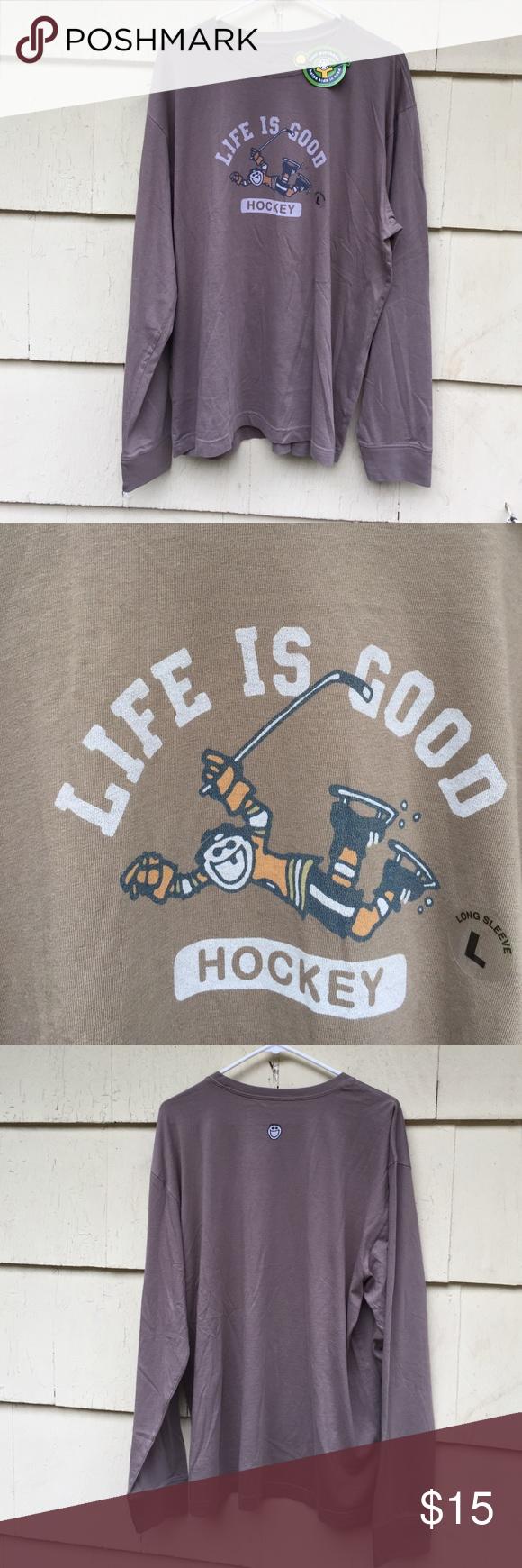 NWT Life Is Good Men's Hockey Shirt Size L Life Is Good NWT Men's Long Sleeve Hockey Shirt. Size Large. Light Brown. No trades Life is Good Shirts Tees - Long Sleeve