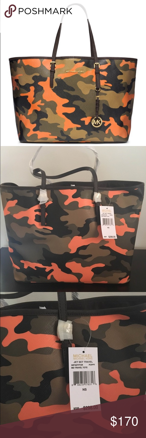 7d32f406b648 Michael Kors $298 Travel Tote Cam Poppy NWT Larg Michael Kors MSRP: $298 Jet  Set