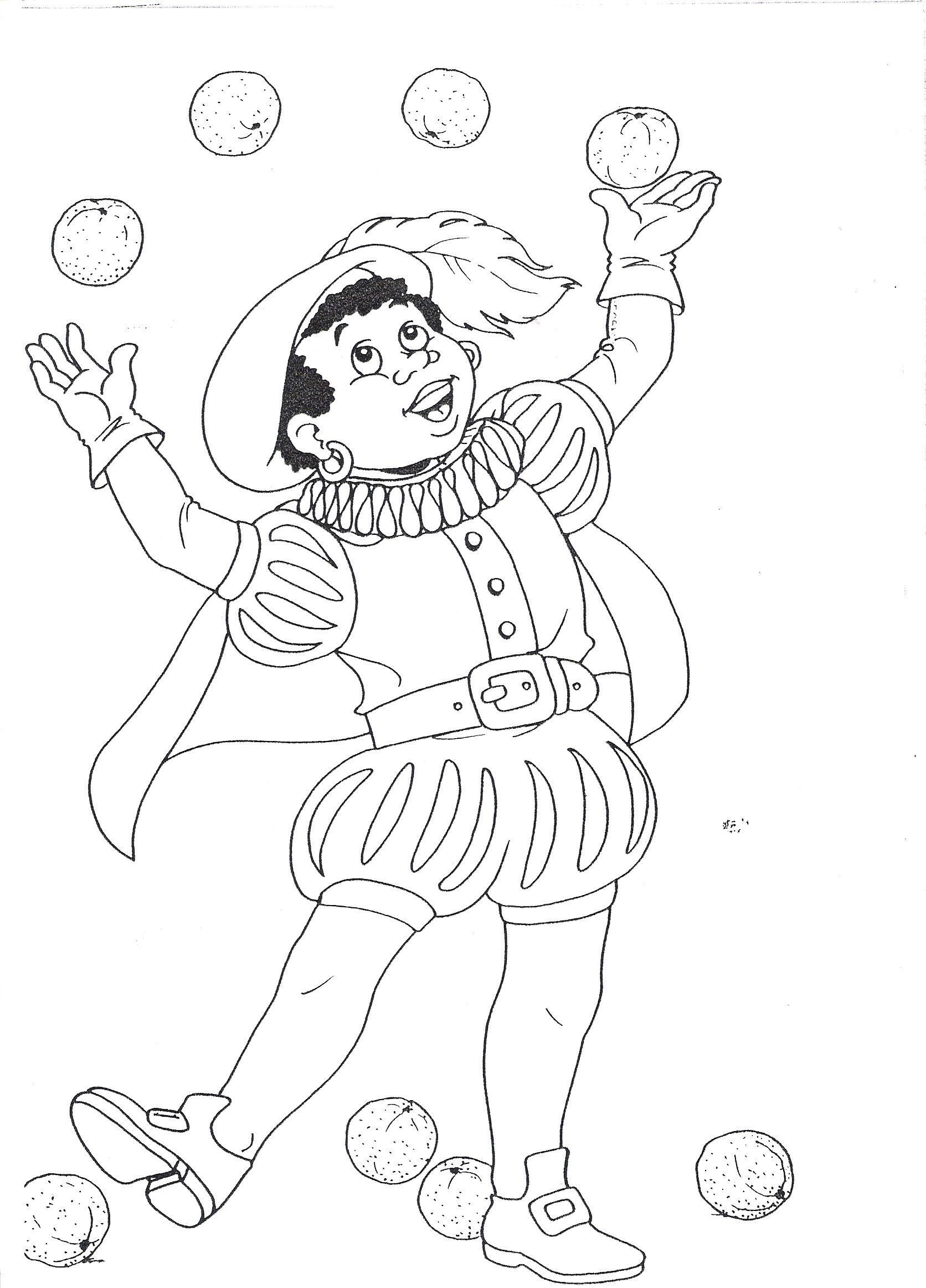 jongleren sinterklaas kleurplaten