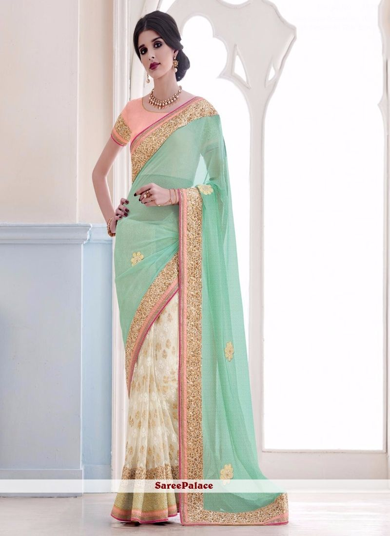 Sari wedding dress  Beguiling Lycra Cream and Sea Green Aari Work Designer Saree  Deb