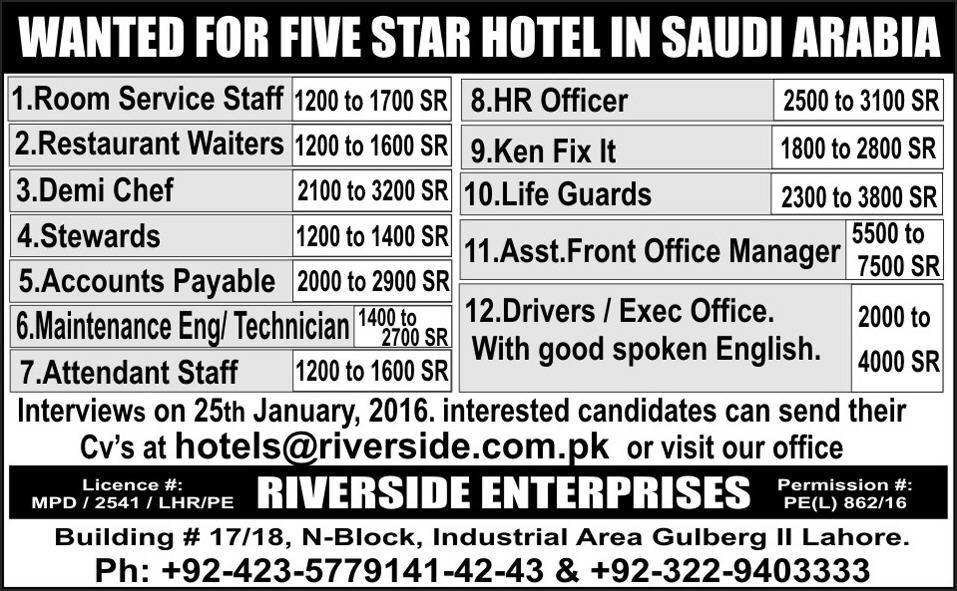 River Star Hotel Jobs In Saudi Arabia Jobs In Pakistan With