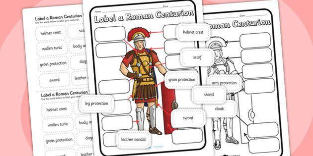Roman Centurion Uniform Labelling Worksheet roman worksheet – Ancient Rome Worksheets