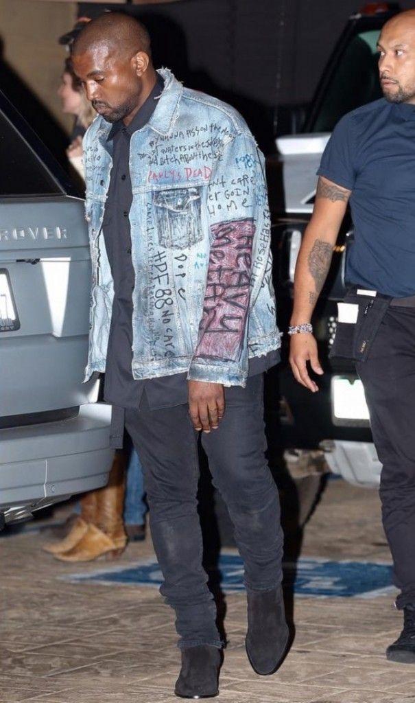 Street Scene Kanye West Spotted Wearing Instagram Star S Denim Jacket Design Kanye West Outfits Kanye West Style Kanye Fashion