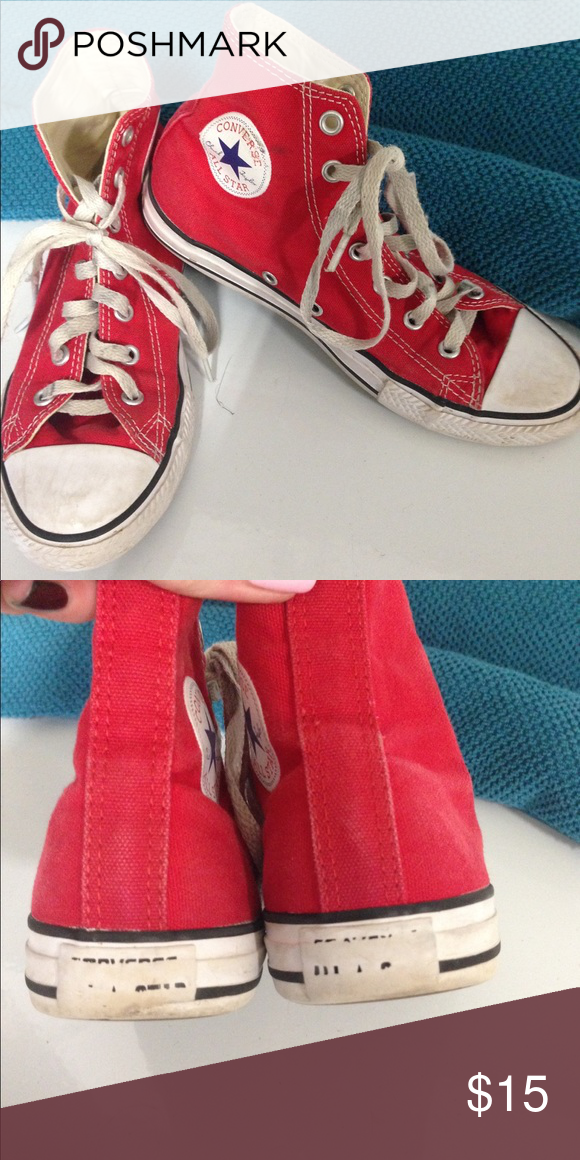 d434df65c05166 High top red converse girls Girls size 3 converse. They are still in pretty  good condition... probably need a little wash! Converse Shoes Sneakers