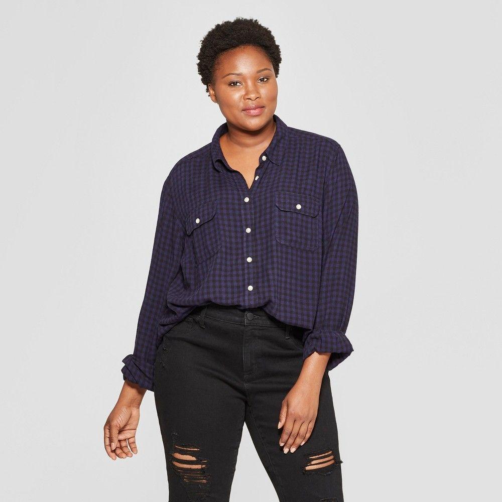 00bc0af2 Women's Plus Size Plaid Long Sleeve Drapey Shirt - Universal Thread Blue 3X