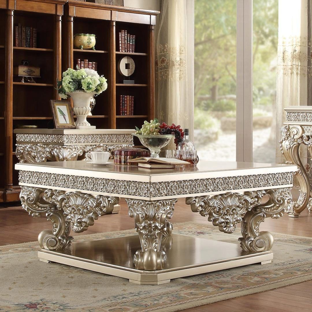 Belle Silver Coffee Table Carved Wood Traditional Homey Design Hd 8022 Hd C8022 Silver Coffee Table Coffee Table Coffee Table Setting [ 1080 x 1080 Pixel ]
