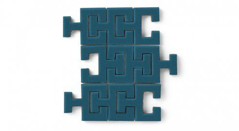 Entryway Floor Tile Inlay: Chaine Femme Peacock Tile | Eco-Friendly Handmade Tile | Fireclay Tile