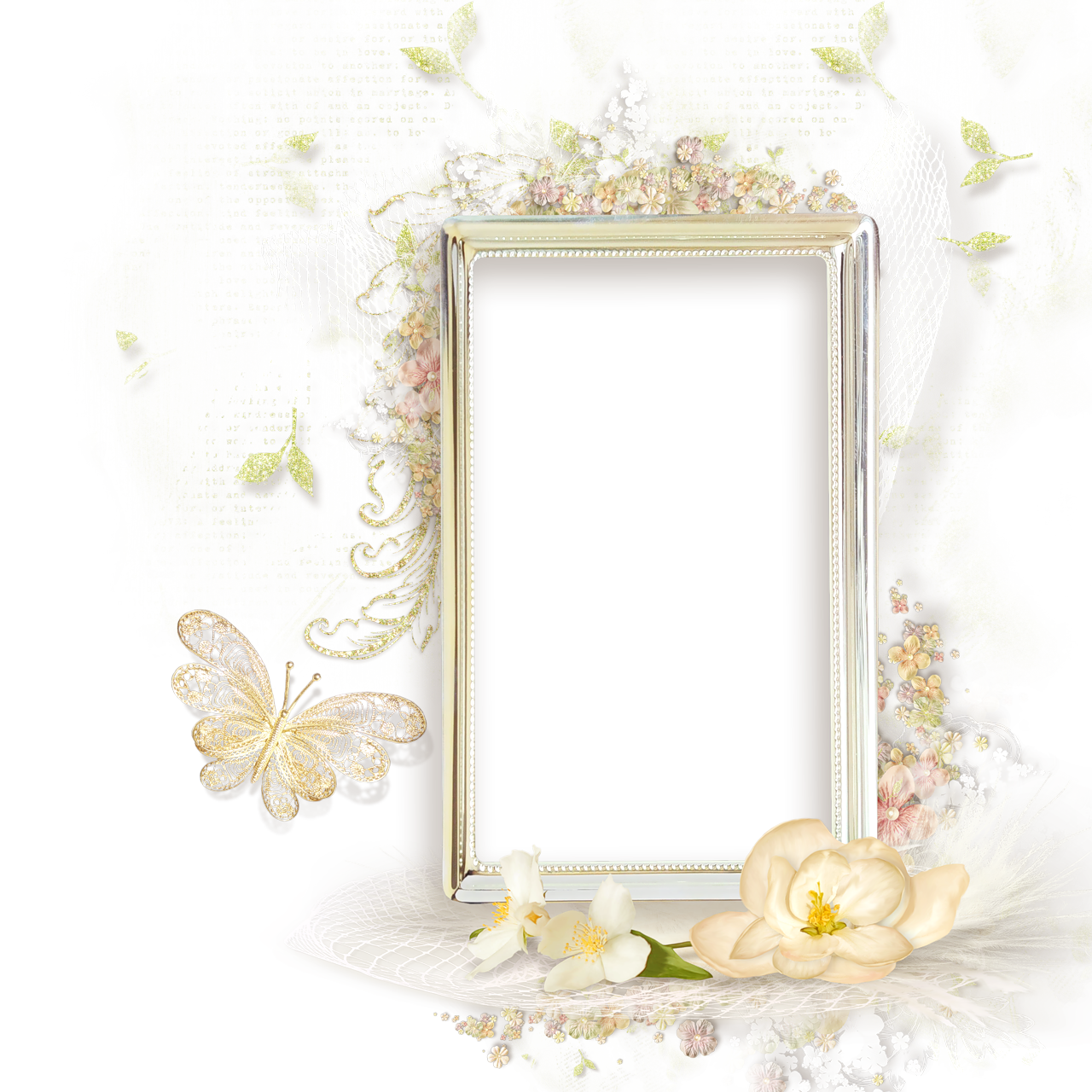 beautiful cream transparent frame with flowers frames. Black Bedroom Furniture Sets. Home Design Ideas