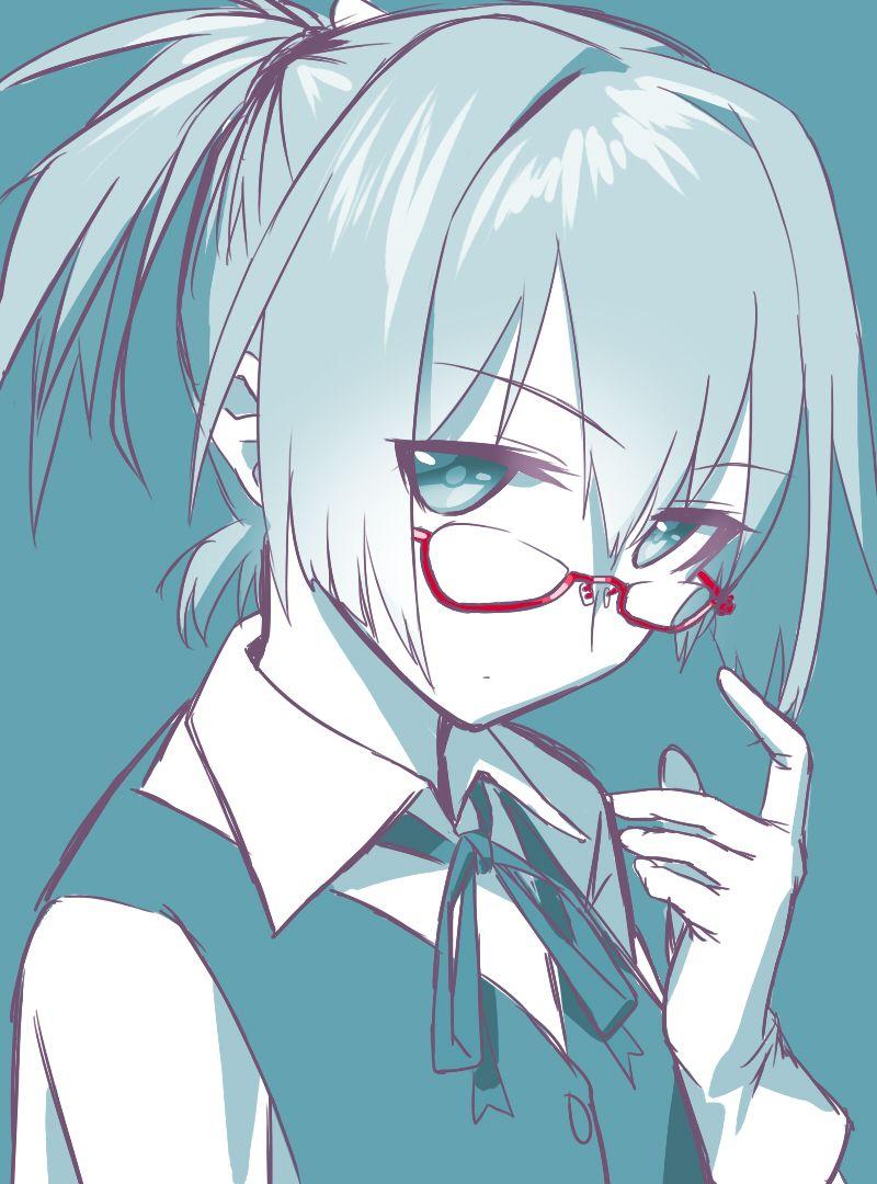 Amatsukaze (Kantai Collection),Kantai Collection,KanColle,Anime,аниме,Shiranui (Kantai Collection),Hatsukaze,blew andwhite,Monochrome (Anime),Anime Art,Аниме арт, Аниме-арт,Megane