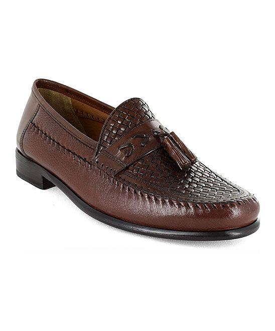 Cognac Swivel Weave Leather Loafer - Men