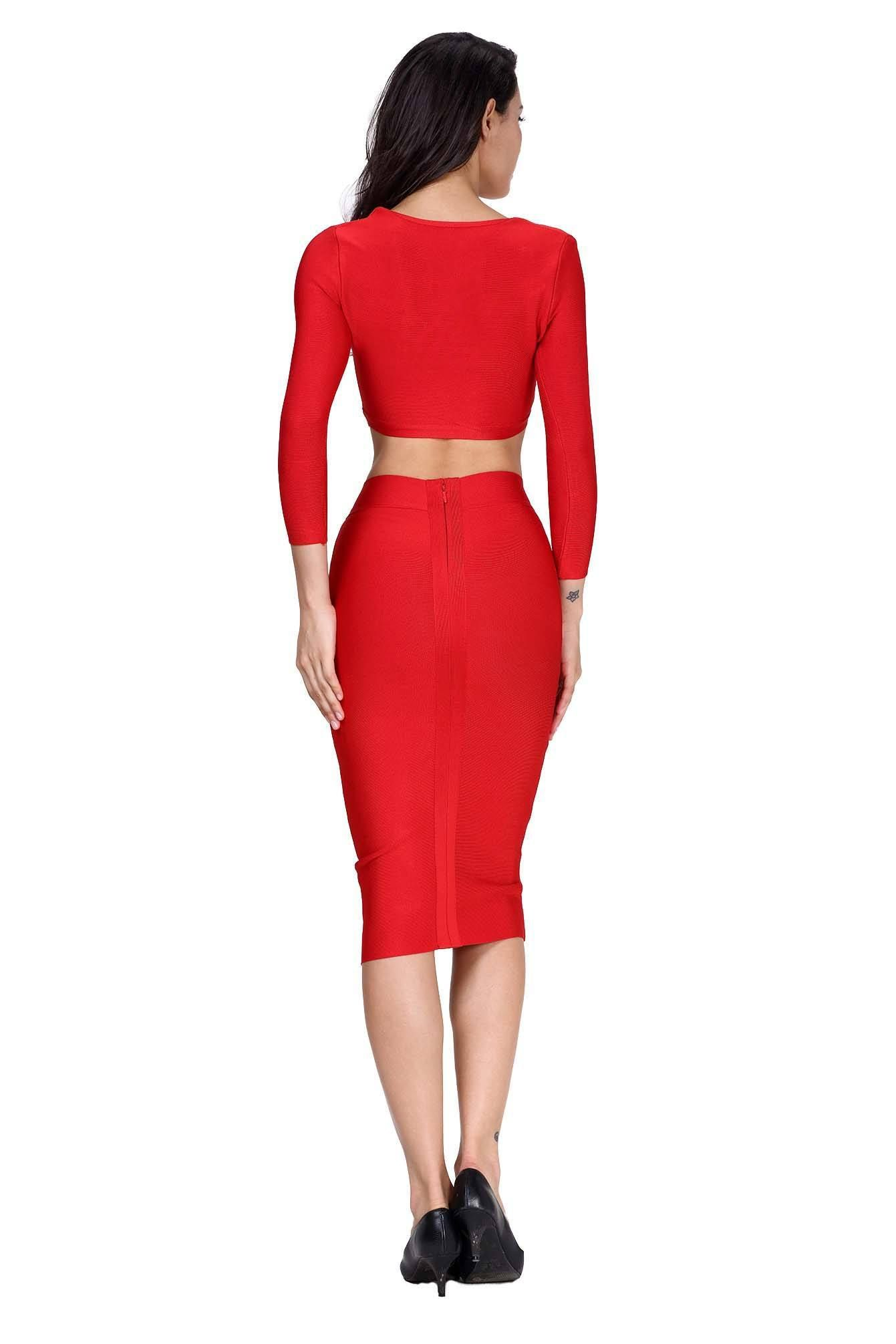 0da2fa0ae Red Two Piece Long Sleeve Bandage Dress - The Kewl Shop - 2 | All ...