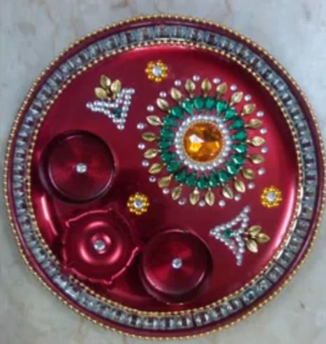 Aarti thali wedding pinterest diwali indian crafts for Aarti thali decoration ideas