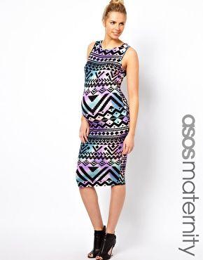 3f427ee3306a3 great print - ASOS maternity Aztec Print Midi Dress | Maternity ...