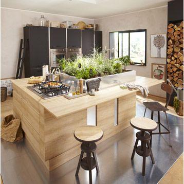 Meuble de cuisine DELINIA, composition type Graphic imitation chêne
