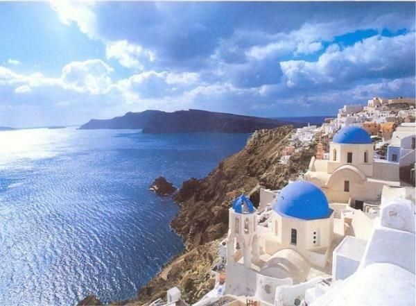 Santorini, Greece.  Made Gaielle hike the caldera!