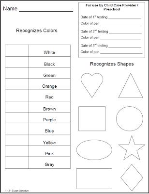 1 2 3 Learn Curriculum Childrens Portfolios Testing Sheets