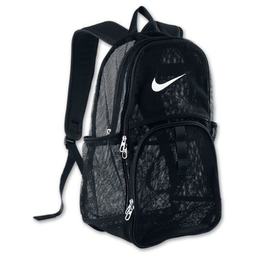 LARGE NIKE MESH BACKPACK BEACH BAG SPORTS GYM TRAVEL SCHOOL DAY PACK CAMP  BLACK #Backpack