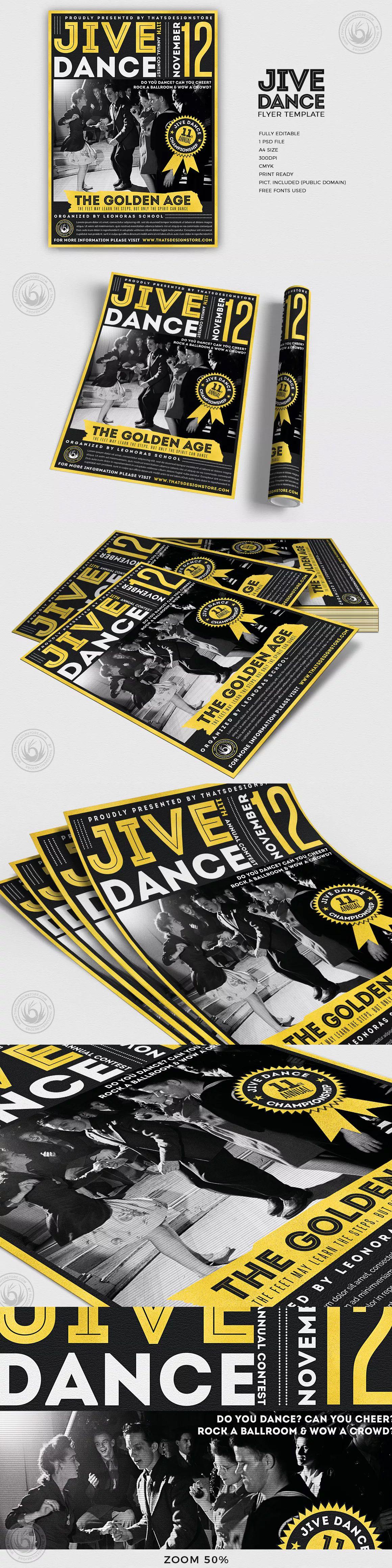 Jive Dance Flyer Template PSD - A4 | Flyer Design Templates ...