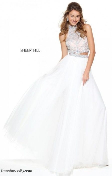 SOLD**Size 6 Ivory, Style 50704 from Sherri Hill is a high neck two ...