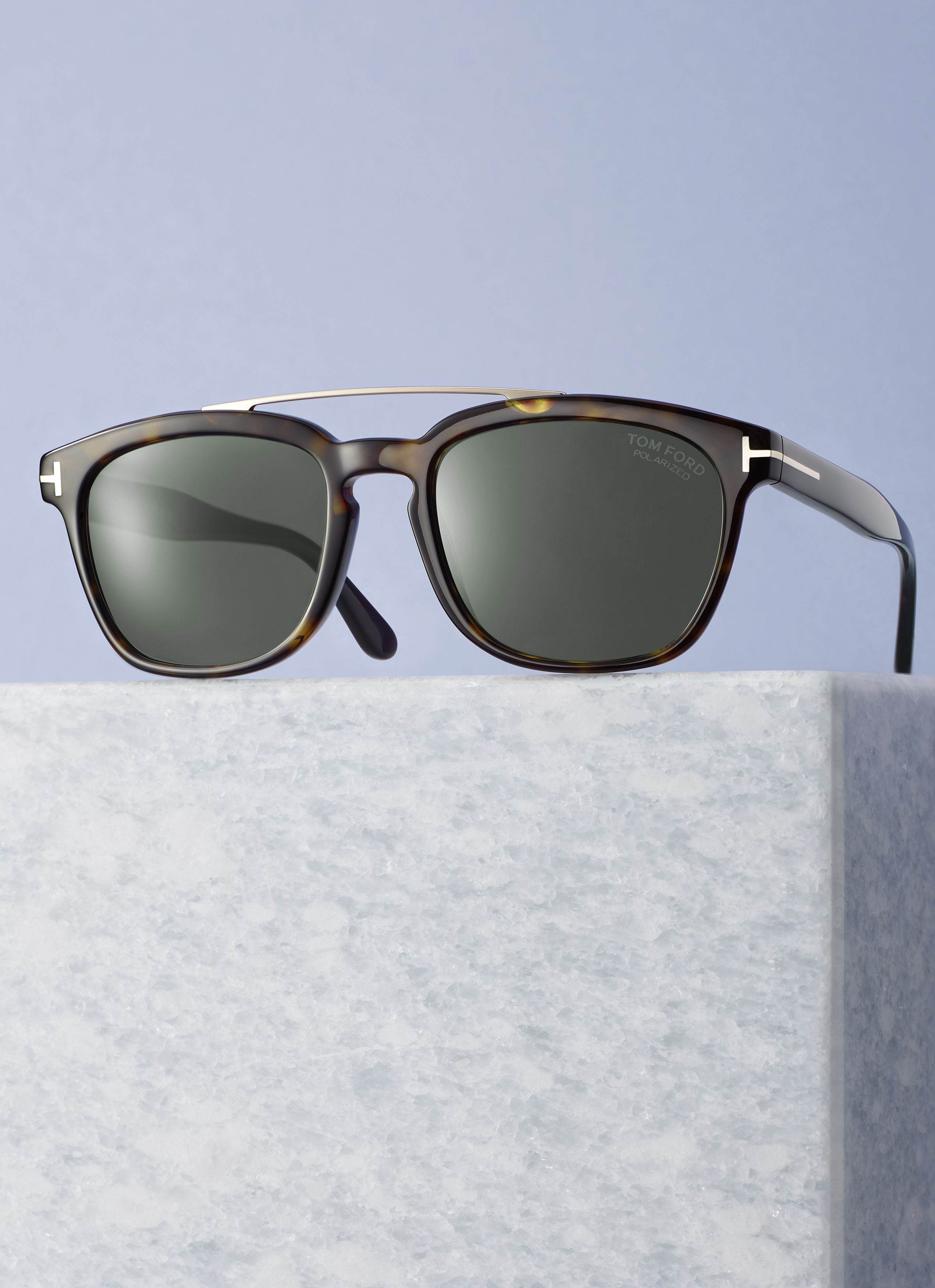 6dc3a9656cd09 TOM FORD Accetate Holt sunglasses in Havana with shiny rose gold metal top  bar and green polarized lenses.  520. Made in Italy.