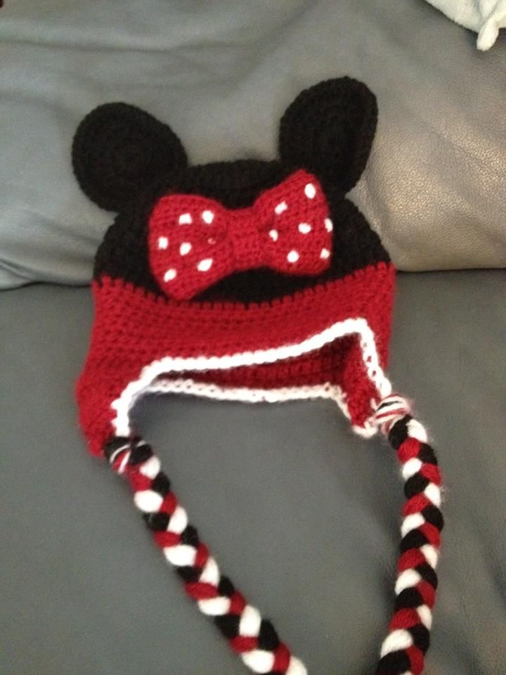 Minnie Mouse hat crocheted for Baby E