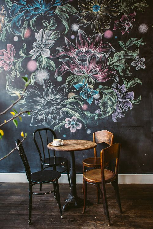 de1e81a3898c chalk flower wall at a cafe