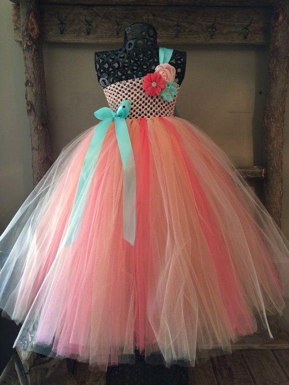 Peach Coral and Aqua Flower Girl Tutu Dress/ by princesstutus2010 ...