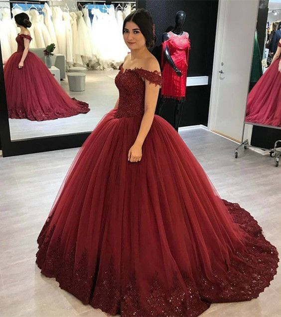Lovely Lace Appliques V-neck Off Shoulder Tulle Maroon Wedding Dress ...