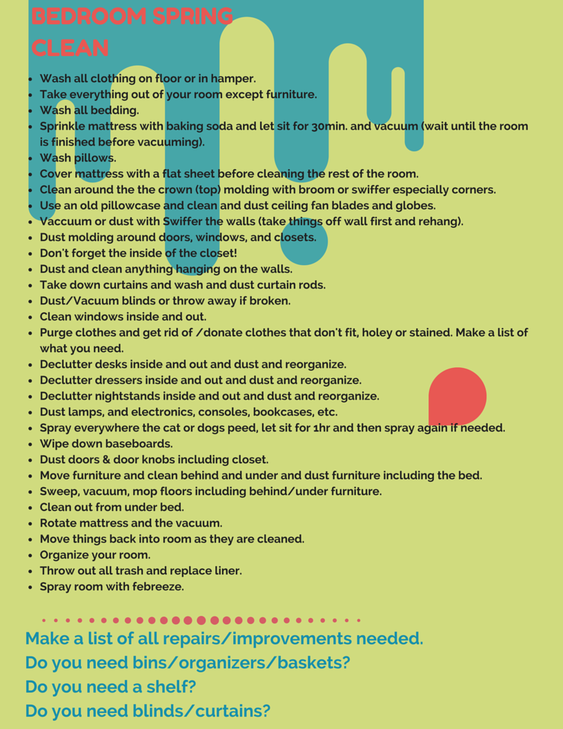 Bedroom Spring Cleaning Checklist For My Teens  Clean Freak