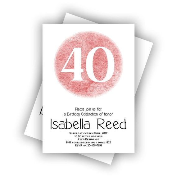 CUSTOM Coral Happy Birthday 40th Invitations Cards 5 x 7 inch