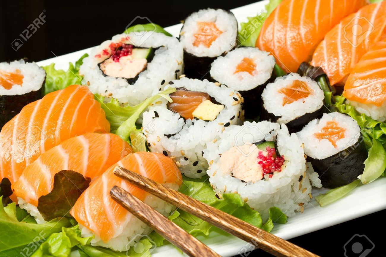 Fresh Sushi Traditional Japanese Food Stock Photo, Picture And ...