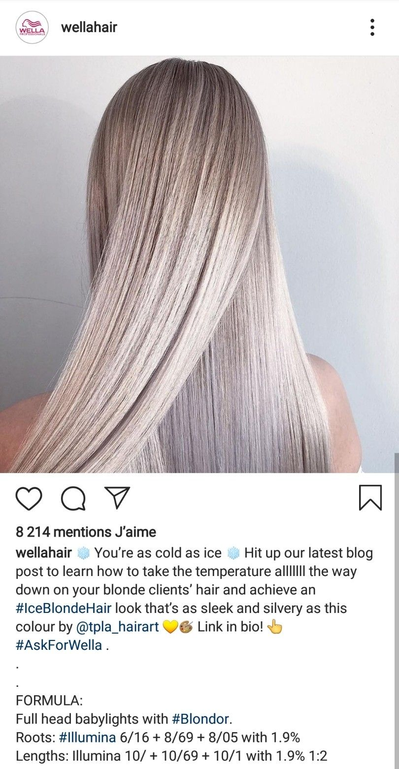 Ice Blonde Babylights With Root Melt Wella Formulas Hair Color Formulas Champagne Blonde Hair Hair Color Wheel