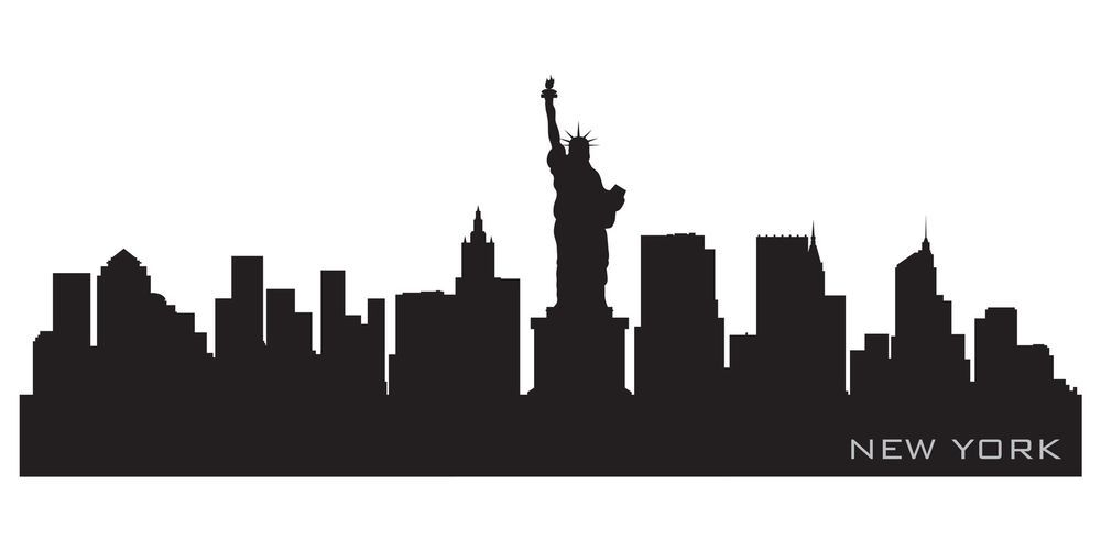 New York City Skyline Silhouette Vinyl Wall Art Sticker Outline Souvenir NYC