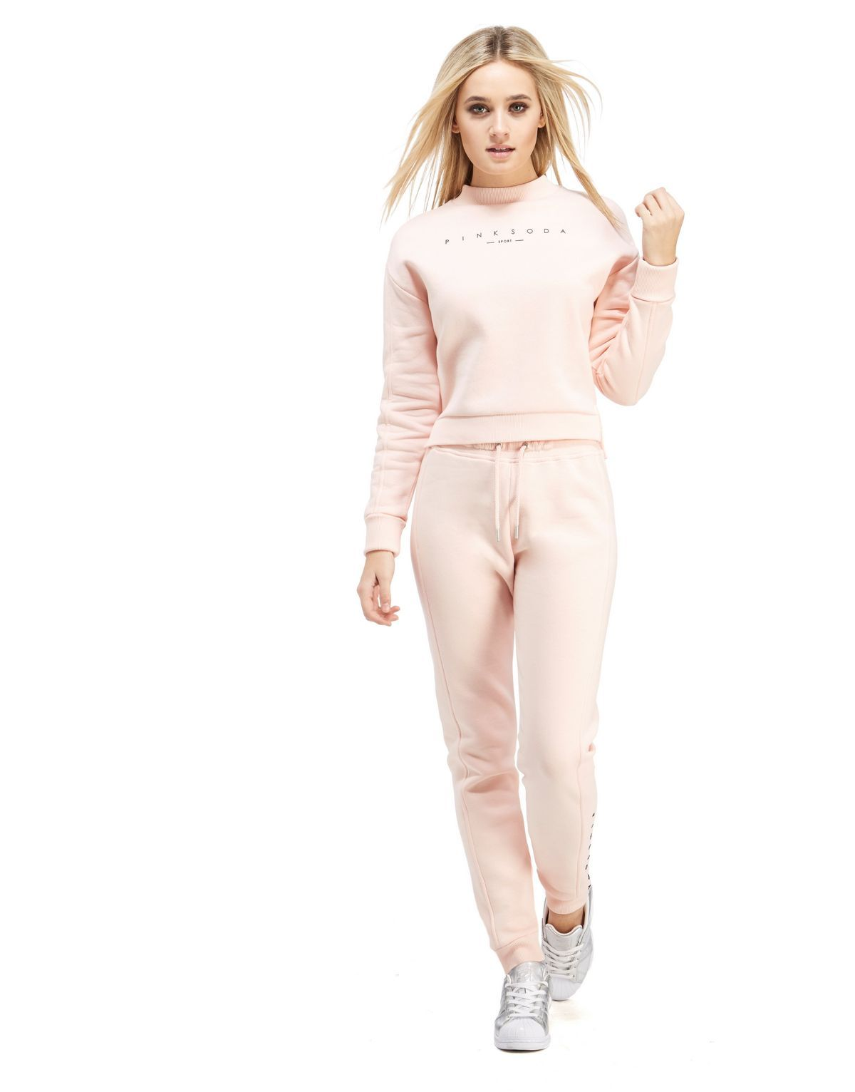 9206dd56b39ae Pink Soda Sport Stepped Hem Crop Sweatshirt