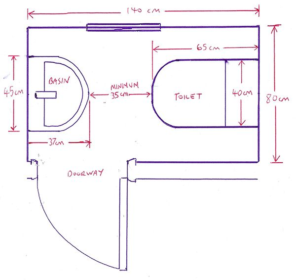 Minimum size for a downstairs toilet with bathroom for Bathroom dimensions