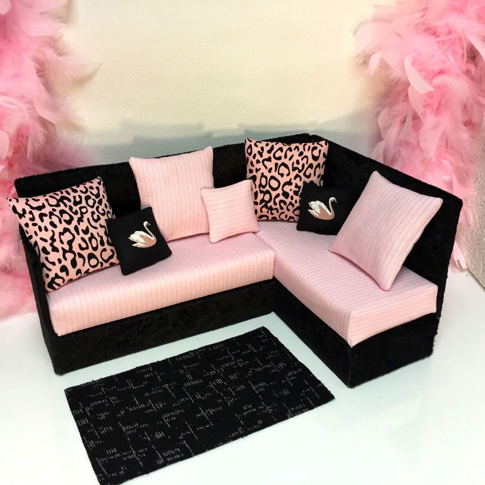 pinkrosemh monster couch sofa möbel bed furniture für puppe 30 cm ... - Barbie Wohnzimmer Möbel