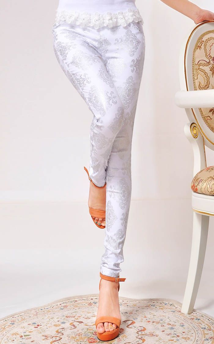Glamour Slim Fit Retro Style Printing Leggings For Women (WHITE,ONE SIZE) China Wholesale - Sammydress.com