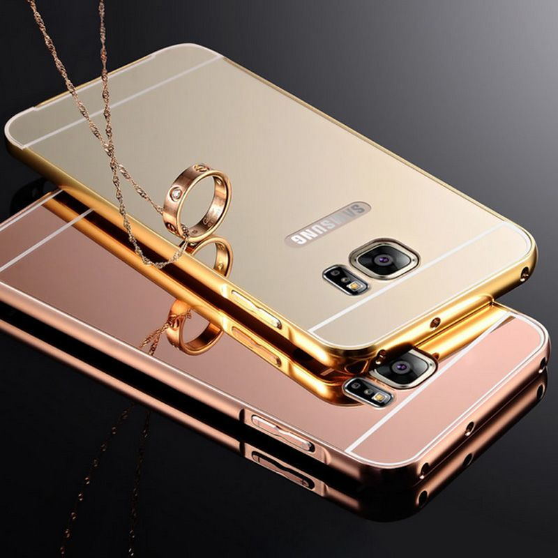 buy popular 863b4 1b906 S7 Edge Mirror case Metal Aluminum Gold Plating Frame Case For ...