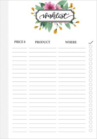 Purple Floral A5 Wish List - PrintableHaven