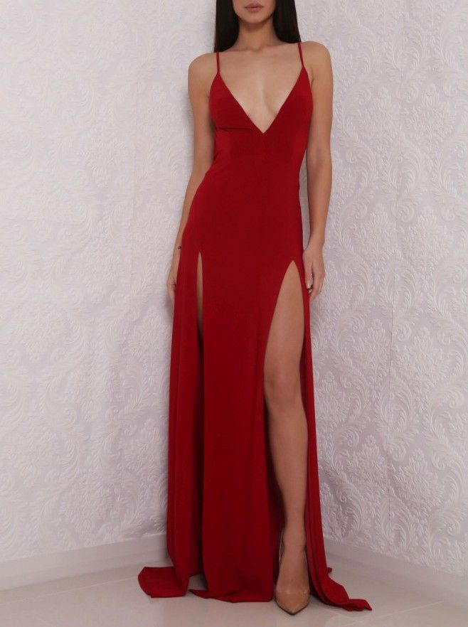 ea3cfae629 Sexy Deep V Neck Red Prom Dress