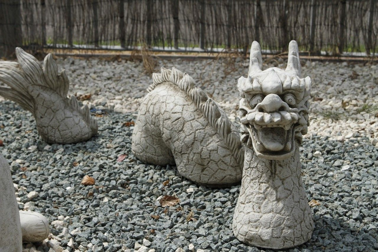 3 Piece Dragon Stone Cast Garden Ornament Garden 400 x 300