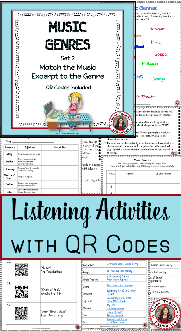 Music Genres: Music Listening Worksheets with QR Code 2: Music Middle School -