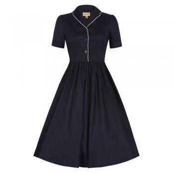 Dorothy Navy Blue Swing Dress   Vintage Style Dresses - Lindy Bop