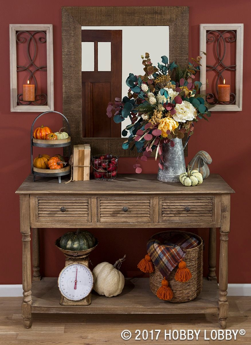 Update Your Foyer For Fall By Mixing Seasonal Decor And Farmhouse Elements!