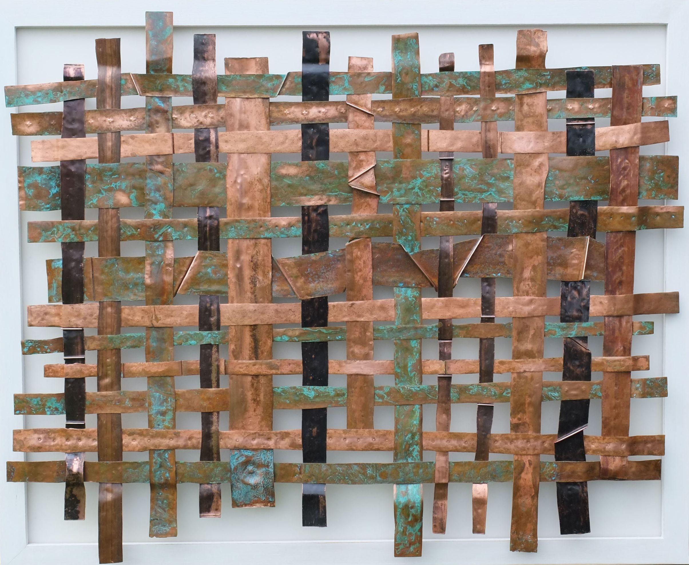 A unique large size copper weave metal art panel offset