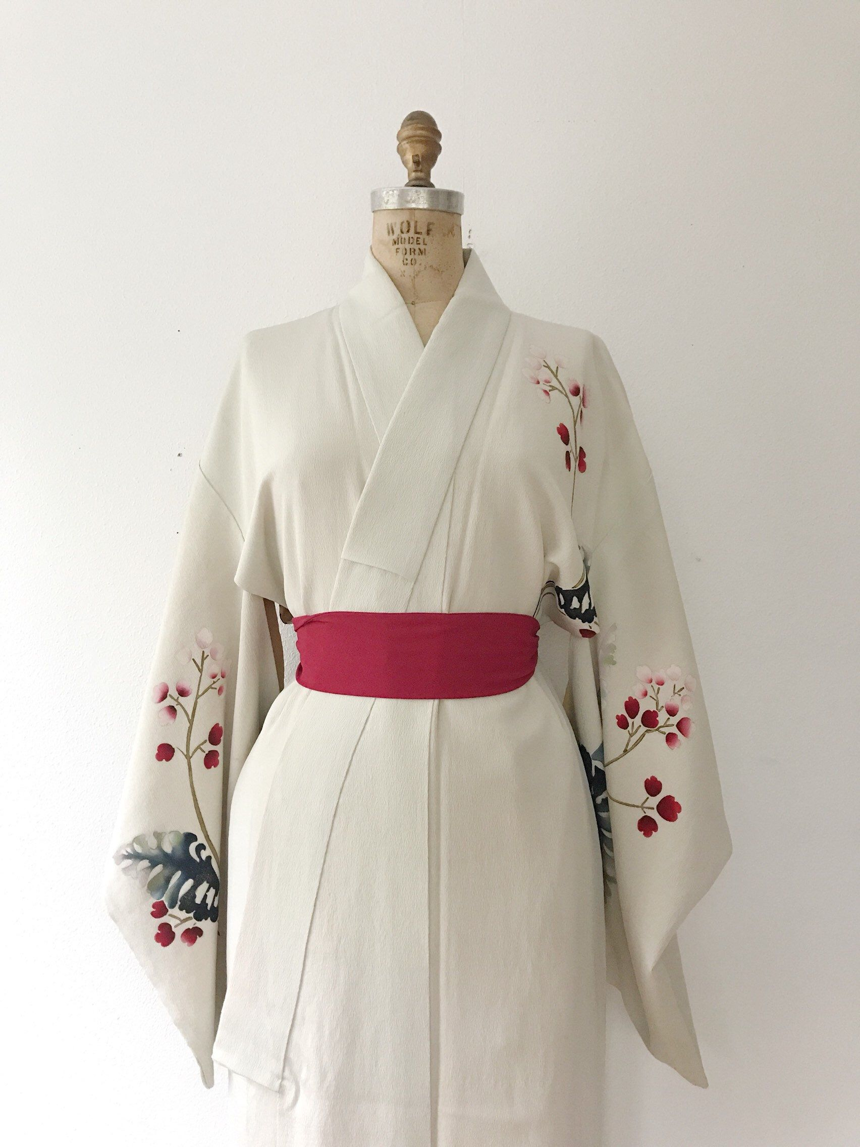 1990s Japanese silk crepe yukata