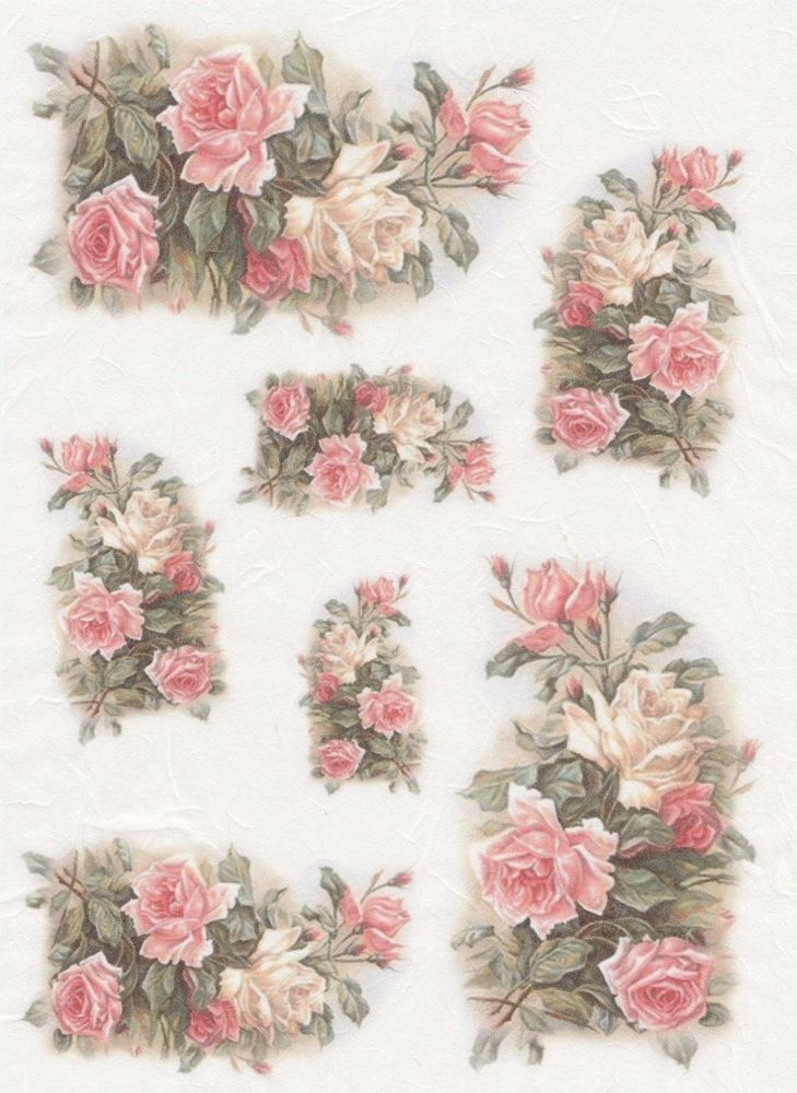 Rice Paper for Decoupage Scrapbooking Beautiful Vintage Pink Roses A4 ITD R1198